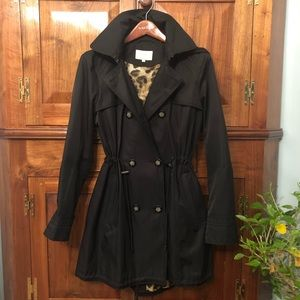 Laundry by Shelli Secal Black Trench Raincoat Sz L